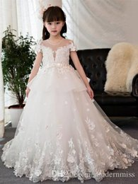 Children Wears Wedding NZ - Flower Girl Dress Applique For Wedding Formal Ocaasion Short Sleeve Kids Brithdays Dress Child Party Dress Formal Wear M64