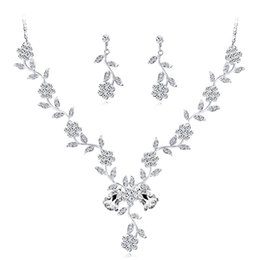 $enCountryForm.capitalKeyWord UK - Bridal Alloy Crystal Necklace Earrings Jewelry Set Leaf Crystal Silver Color Plated Necklaces Earrings Sets TZ617-A