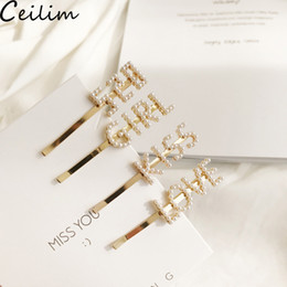 Pearl Gold Hair Clips Australia - Trendy Gold Color Hair Clips Hair Accessories with Imitiation Pearl Smile Face Hairpins For Women Fashion Korean Letter LOVE KISS Design
