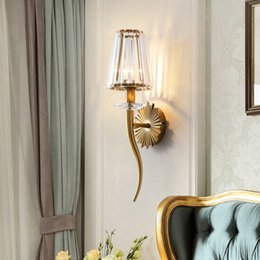 gold wall lighting NZ - New design American creative crystal wall lamps wall lighting fixture gold wall mount lights led sconce light for bedside hallway ktichen