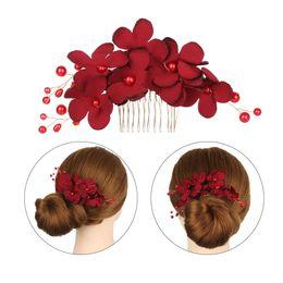 Hairpin Wedding Bridal Hair Clips Australia - 1 Pc Fashion Bridal Clips Wedding Bridesmaid Tiara Red Flower Hair Clip Hairpin Combs Jewelry Accessories Elegant Barrettes