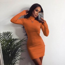 3149e4327ae Womens Dresses 2019 Spring   Autumn New Simple Half Turtleneck Dress Tight  Skinny Solid Color Skirt Fashion Fluorescent Yellow Short Dress