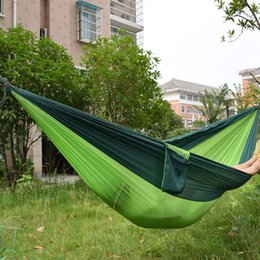 Wholesale 270 cm Camping Hammock Person Portable Parachute Nylon Outdoor Travel Sleep Hammocks With Ropes Swing Hanging Bed KKA6972