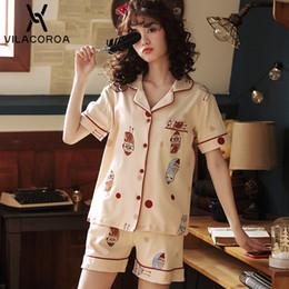 f28aaf07c0ee Summer Korean Cute Cotton Women Pajamas Cartoon Print Lapel Short Sleeve  Top + Shorts Pajama Set Casual Loose Pajamas For Women