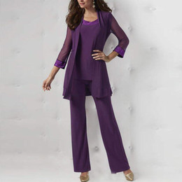 $enCountryForm.capitalKeyWord Australia - Purple Three Pieces Mother Of The Bride Pant Suits Long Sleeves Jackets Sequined Wedding Guest Dresses Plus Size Chiffon Mothers Groom Dress