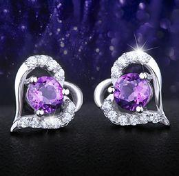 $enCountryForm.capitalKeyWord Australia - Wedding Earrings Stud For Women Purple Crystal Love Heart Charms Ear Jewelry 925-Sterling-Silver Big White Gold Overlay Earring