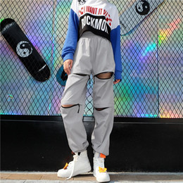 leg chain girl NZ - 2018 Fashion Side Chain Pants For Women Loose Wide Leg Harem Pants Women's Winter Trousers Young Girls Zipper Opening Hip Hop Pants Spo