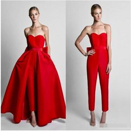 $enCountryForm.capitalKeyWord Australia - Krikor Jabotian Red Jumpsuits Evening Dresses With Detachable Skirt Sweetheart Prom Gowns Pants for Women Custom Made
