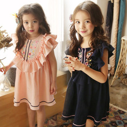 Korea Brand Clothes Australia - Kids Dress Girls Clothes Korea Dress Fly Sleeve with Ruffle Embroidered Dresses Summer Children Boutique Clothing Dresses