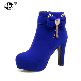 $enCountryForm.capitalKeyWord UK - 2018 Large Size 32-43 Platform Bow Women Shoes Woman Fashion High Heels Winter Ankle Boots female Footwear Black Blue yhj89