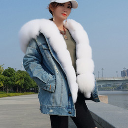 $enCountryForm.capitalKeyWord Australia - Removable rabbit furs liner and Fox fur collar women's furs Regular loose jeans jacket in hole
