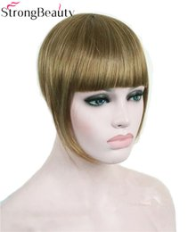 Synthetic Hair Clip Bangs Australia - Synthetic Women Short Blonde Brown Black Gold Front Neat Hair Bangs Extension Clip in Hair Piece Fringe Extensions