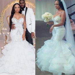 $enCountryForm.capitalKeyWord Australia - 2019 Sexy Mermaid Wedding Dresses Sweetheart Crystal Pearls Beaded Embroidery Ruffled Layered Nigerian Bridal Wedding Gowns