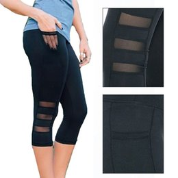 $enCountryForm.capitalKeyWord Australia - Fashion-Calf length Pants Capri Pant Sport leggings Women Fitness Yoga Gym High Waist Legging Girl Black Mesh 3 4 Yoga Pants women