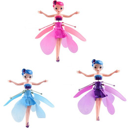 wholesale plastic figures Australia - Mini Aircraft Flying Fairy Doll Electric Induction Drone Helicopter Toy Fairy Tale Figures Christmas Gift for Girls DHL Shipping