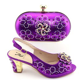 $enCountryForm.capitalKeyWord Australia - New Purple Color African Matching Shoes and Bag set Italian In Women Matching Italian Shoe and Bag Set Decorated with Rhinestone