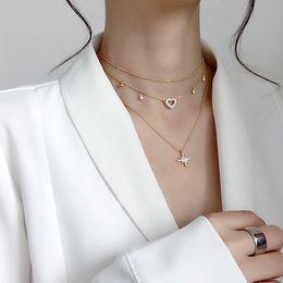 Love Chain Design Australia - European and American Women's Sexy Rice Multi-layer Clavicle Chain INS Cold Style Simple Love Design Sense Pendant Necklace
