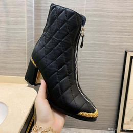 Thick velveT heels online shopping - 2019 Autumn And Winter Models Of High heeled Ankle Boots Womens Plus Velvet Boots Front Zipper Thick Leather Martin Boots Tide Female