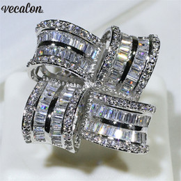 Big men diamond ring online shopping - Vecalon Luxury Big Flower Promise ring sterling silver Diamond Engagement wedding Band rings for women men Finger Jewelry