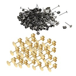 $enCountryForm.capitalKeyWord UK - 300Pcs 4mm Women Ladies Stainless Steel Iron Earring Posts and Backs with 4mm Blank Round Flat For DIY Handmade Earring Findings