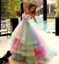 $enCountryForm.capitalKeyWord Australia - Rainbow Colorful Prom Dresses Sweetheart Layers Organza Handmade Flowers Graduation Dress Beads Pleats Princess Pageant Quinceanera Dress