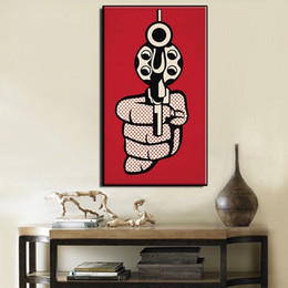 Famous Canvas Prints Australia - Famous Roy Lichtenstein Pistol High Quality Handpainted & HD Print Abstract Art oil painting On Canvas Home Decor Multi Sizes R38.73