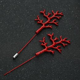 $enCountryForm.capitalKeyWord Australia - 2019 New fashion Red Coral Shape Brooches Pins For Men Suit Breastpin Fashion Large Size Broach European Style Clothes Accessories