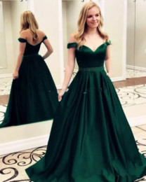 short empire waist prom dresses Australia - Off Shoulder Short Sleeves A-Line Prom Dresses Beaded Waist Formal Long Evening Party Gowns 2019 Custom Formal Special Occasion Gowns