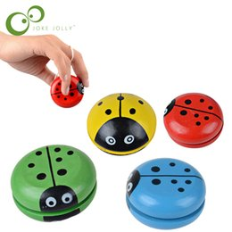 $enCountryForm.capitalKeyWord Australia - Classic Toys Creative Wooden Children Yoyo Toys Hand Painting Lovely Ladybug Yoyo For Kids Free Shipping GYH