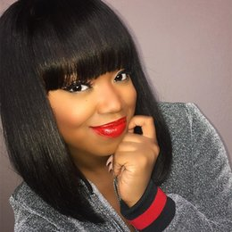 $enCountryForm.capitalKeyWord Australia - Short bob Brazilian human full lace hair wigs with baby hair lace front silky straight human hair wigs with bangs for black women