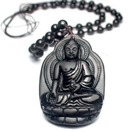 $enCountryForm.capitalKeyWord Australia - Hot Beautiful 54x36mm Natural Obsidian Black Carved Lucky Blessing Lotus Buddha Amulet Pendant