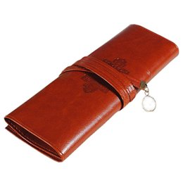 Stationery Australia - Retro Vintage leather Pencil Bag Pencil Case cosmetic bag PU coffee color stationery #824