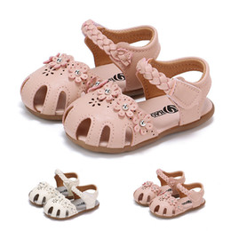 Flower Shoes Kids NZ - Summer Baby Girl Shoes Toddler Kids Baby Girls Solid Flowers Roman Hollow Out Sandals Princess Shoes Baby Girls Sandals M8Y16#FN