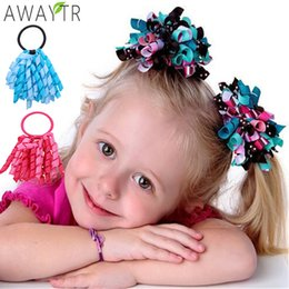 $enCountryForm.capitalKeyWord Australia - AWAYT 1pcs Girl Ponytail Holder Gingham Rainbow Curly Tassel Ribbons Streamers Hair Bows Elastic Flowers Corker Hair Accessories