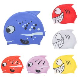 toddler silicone babies 2019 - Baby Cartoon Swimming Caps Cute Waterproof Cartoon Kids Swimming Hat - Silicone Children Toddlers Swim Cap cheap toddler