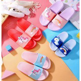 $enCountryForm.capitalKeyWord Australia - KushyShoo Unicorn Slippers for Boy Girl Rainbow Shoes Summer Toddler Animal Kids Indoor Baby Slippers PVC Cartoon Kids