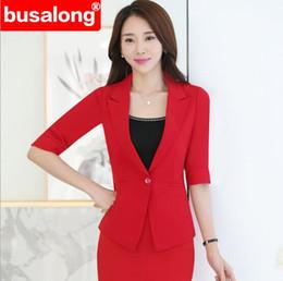 Female Office Suits Australia - Summer Fmasuth Elegant Ruffle Office Uniform Skirt Suit Autumn Full Sleeve Blazer Jacket+Skirt 2 Pieces Female Work Skirt Suits