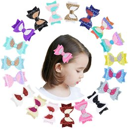 "wings hair clips NZ - 3.5"" Rainbow Color Glitter Angel Wings Hair Bows With Clip Pu Leather Hairpin Girls Princess Hair Clip Bowknot Clip 40pc lot"