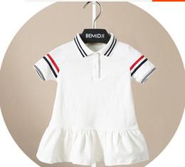White Character Skirt Australia - Summer White Stripe Short Sleeve Dress Princess Skirt for Children