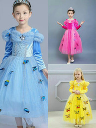 cinderella costume movie Canada - Best Selling Girls Cinderella Dresses Children Girls Snowflake Diamond Cosplay Long Ball Gown Party Halloween XMAS Dress Butterly Lace Hem