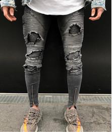 Legging Destroyed Australia - Men's Ripped Destroyed Stretchy Knee Holes Slim Tapered Leg Jeans Denim Pants