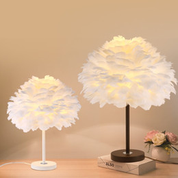 paint table NZ - Study Office Feather Table Lamp Bedroom Bedside Lamp Wedding Room Decoration Desk Light nordic Table Lamp For Living Room deco light fixture