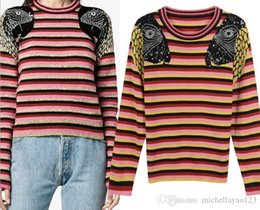 2019 Contrast Striped Parrot Sequins Beads Print Pullover Women Brand Same  Style O Neck Long Sleeves Women s Sweaters DH314 e51aa27c2