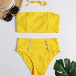 $enCountryForm.capitalKeyWord UK - In-X High waisted swimsuit Strapless sexy bikini 2019 Bandeau bikini set Plus size swimwear women Yellow swimsuit Bathing suit