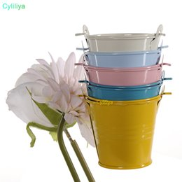 Wholesale Metal Wedding Party Shower Gift Potted Plants Mini Small Assorted Colored Tin Pails Buckets Bucket Candy Chocolate Box