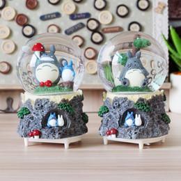 Crystal Ball Music Australia - Rotating diy Totoro Baby Kids Toy music box Swivel snow globe Crystal Colorful Lighted Ball Christmas Gift carrossel Music Box