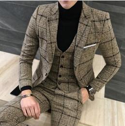Boutique Dresses Suits Australia - ( Jackets + Vest + Pants ) Groom Wedding Dress Plaid Formal Suits Set Men Fashion Boutique Wool Casual Business Suit Three-piece CY05