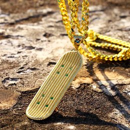 $enCountryForm.capitalKeyWord Australia - Hiphop Skateboard Pendant Necklaces For Men Ice Out Hip Hop Jewelry Gold Plated Cuban Chain Zircon Necklace