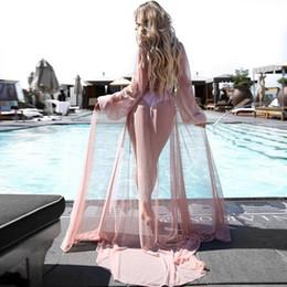 $enCountryForm.capitalKeyWord Australia - Women Solid Maxi Long Sleeve Chiffon Dress Cover Belt Up Beach Casual,beach Long Cardigan Spring, Autumn