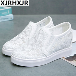 Swing Summer Shoes Australia - XJRHXJR Summer Breathable Fashion Lace 6cm Platform Evelator Shoes Women Swing Wedge Inner Increase Casual Shoes Platform